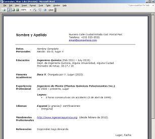 Modelo De Curriculum Vitae Formato Profesional Ingenieriaquimica Org